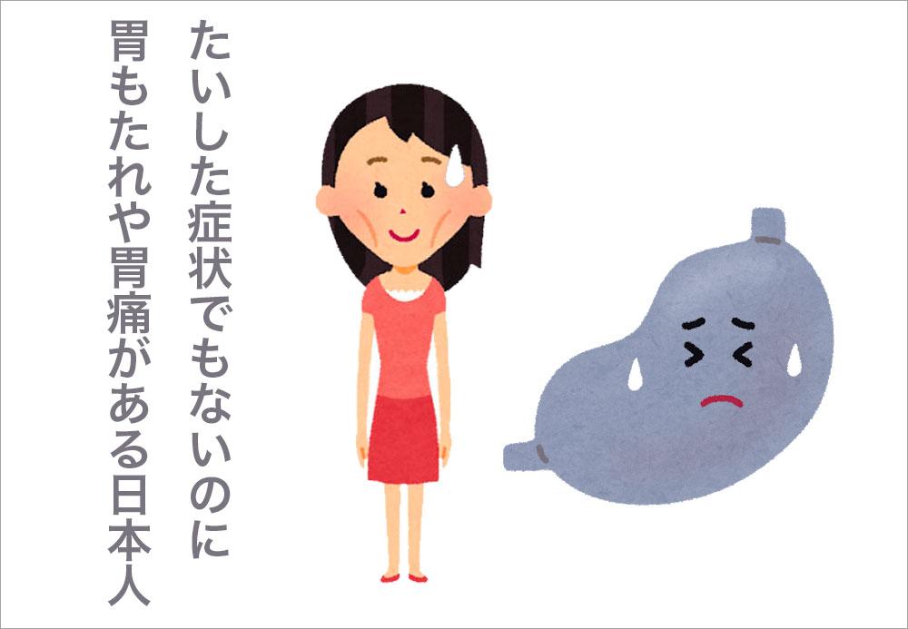 たいした症状でもないのに胃もたれや胃痛がある日本人