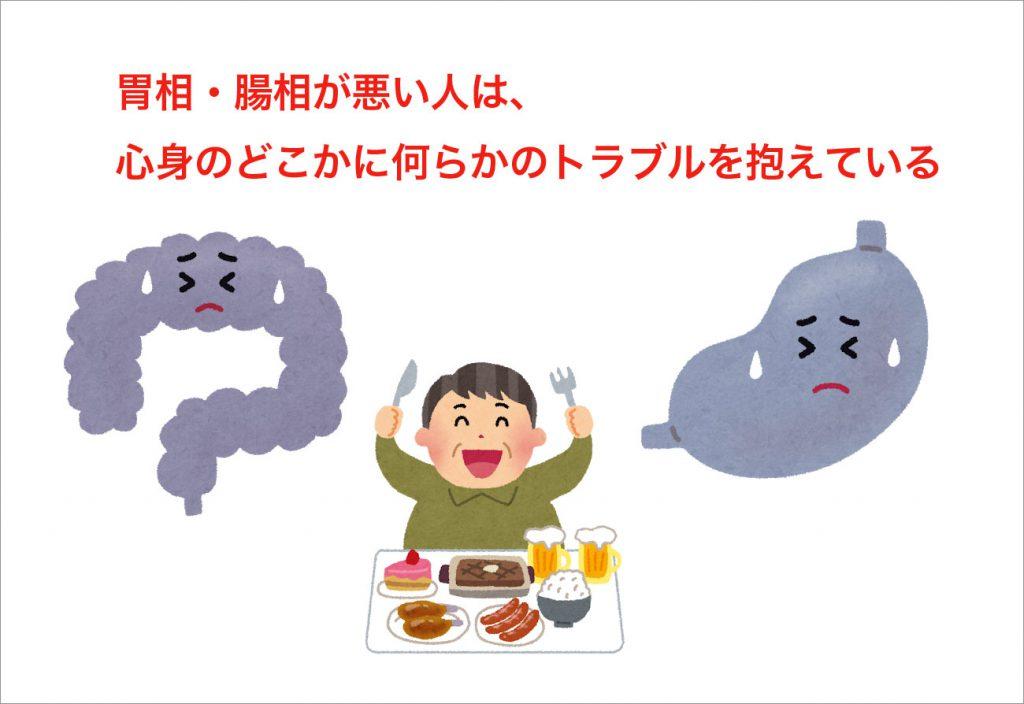 胃相・腸相が悪い人は、心身のどこかに何らかのトラブルを抱えている