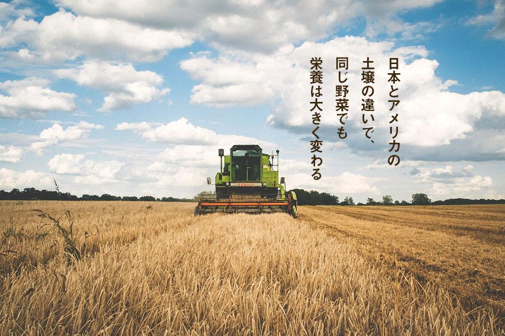 日本とアメリカの土壌の違いで、同じ野菜でも栄養は大きく変わる