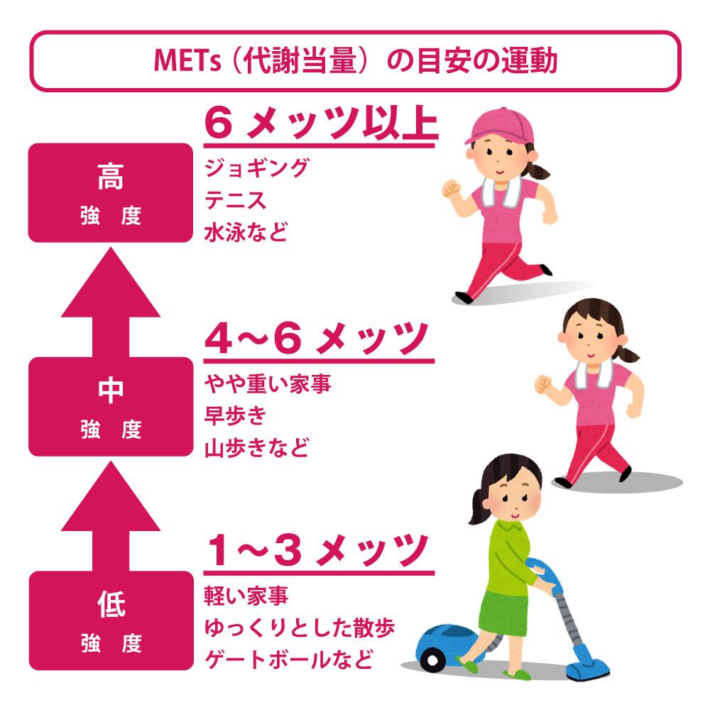 メッツ(代謝当量)の目安の運動