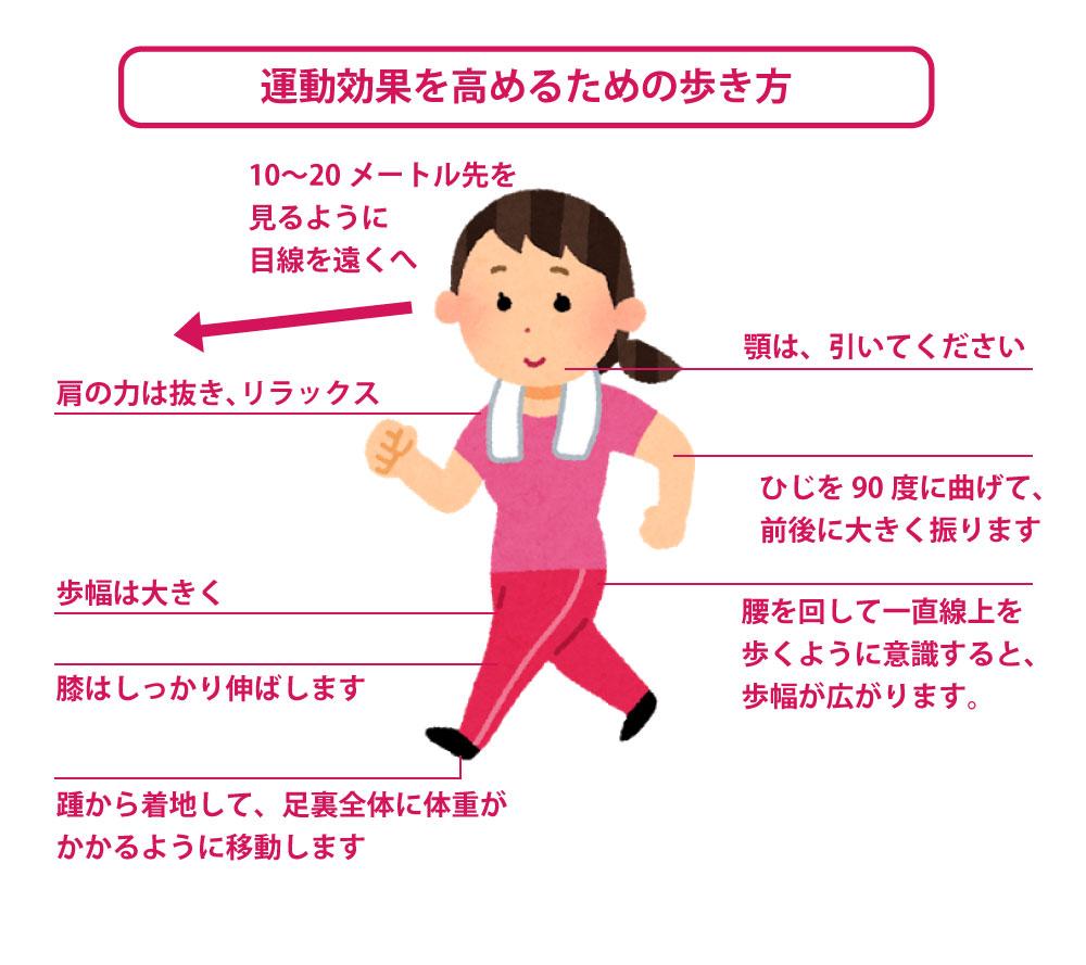 運動効果を高めるための歩き方