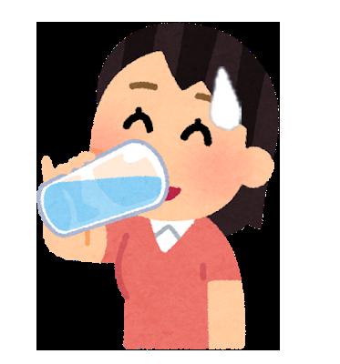 1杯の水かぬるま湯を飲む